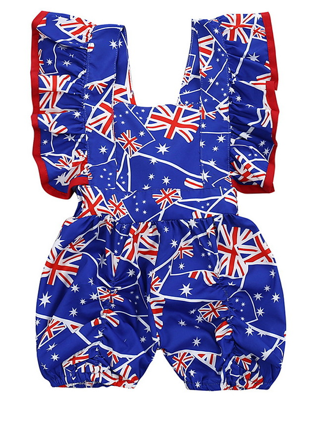 Baby Girls' Basic Flag Sleeveless Romper Navy Blue