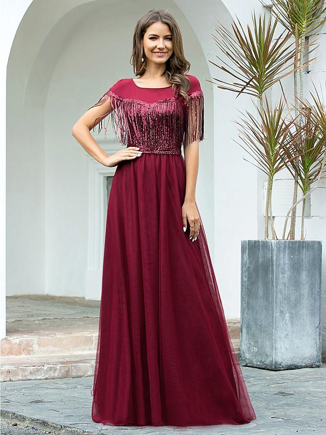 A-Line Elegant Empire Engagement Formal Evening Dress Jewel Neck Short Sleeve Floor Length Tulle Sequined with Sequin Tassel 2020