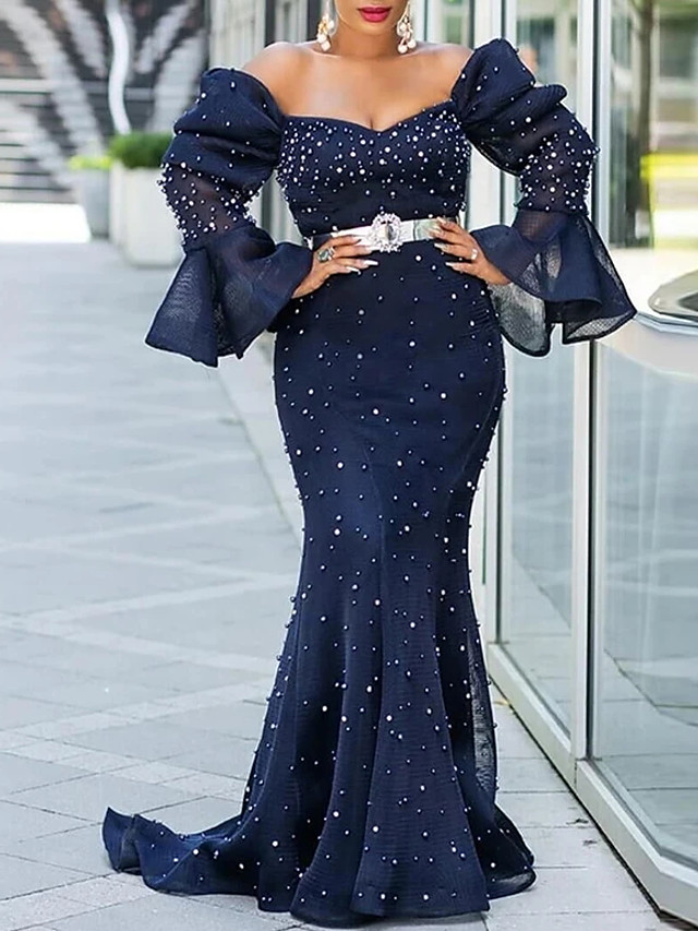 Mermaid / Trumpet Sparkle Plus Size Engagement Formal Evening Dress Off Shoulder Long Sleeve Court Train Chiffon with Sash / Ribbon Pearls 2020