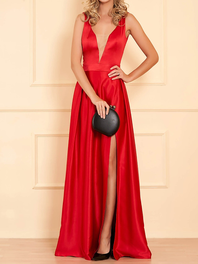 A-Line Hot Sexy Engagement Formal Evening Dress V Neck Sleeveless Floor Length Satin with Pleats Split 2020