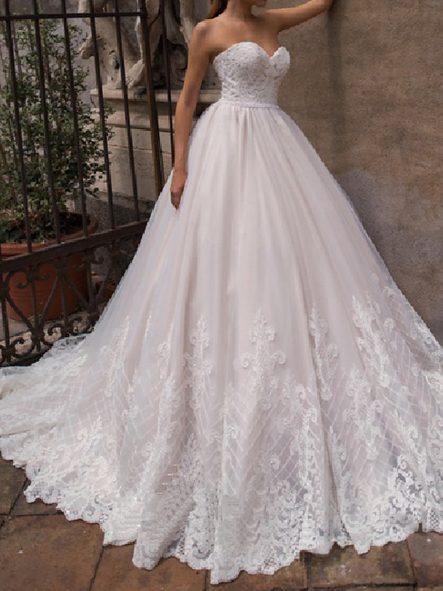A-Line Wedding Dresses Off Shoulder Court Train Lace Tulle 3/4 Length Sleeve Country Plus Size with Pearls Appliques 2020