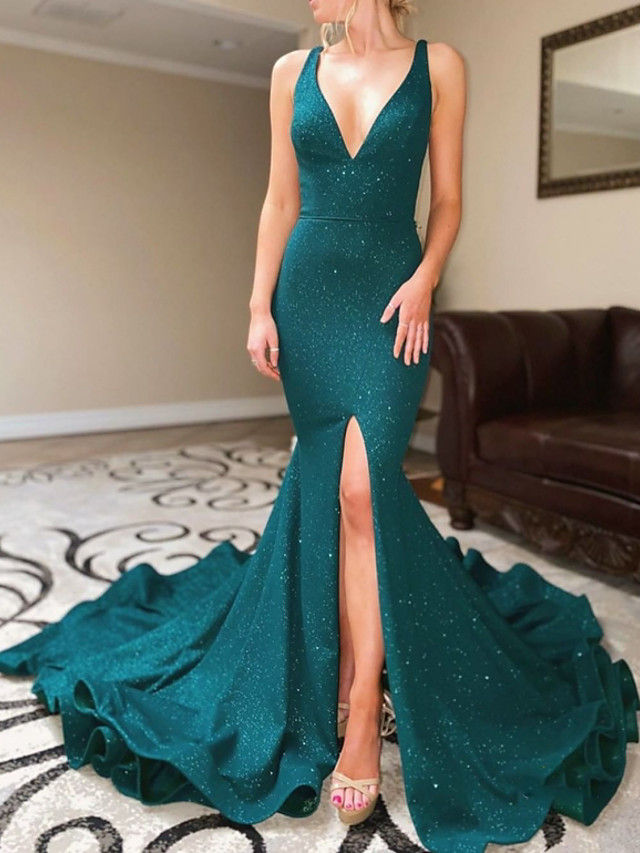 Mermaid / Trumpet Beautiful Back Sparkle Engagement Formal Evening Dress V Neck Sleeveless Court Train Sequined with Sequin Split 2020