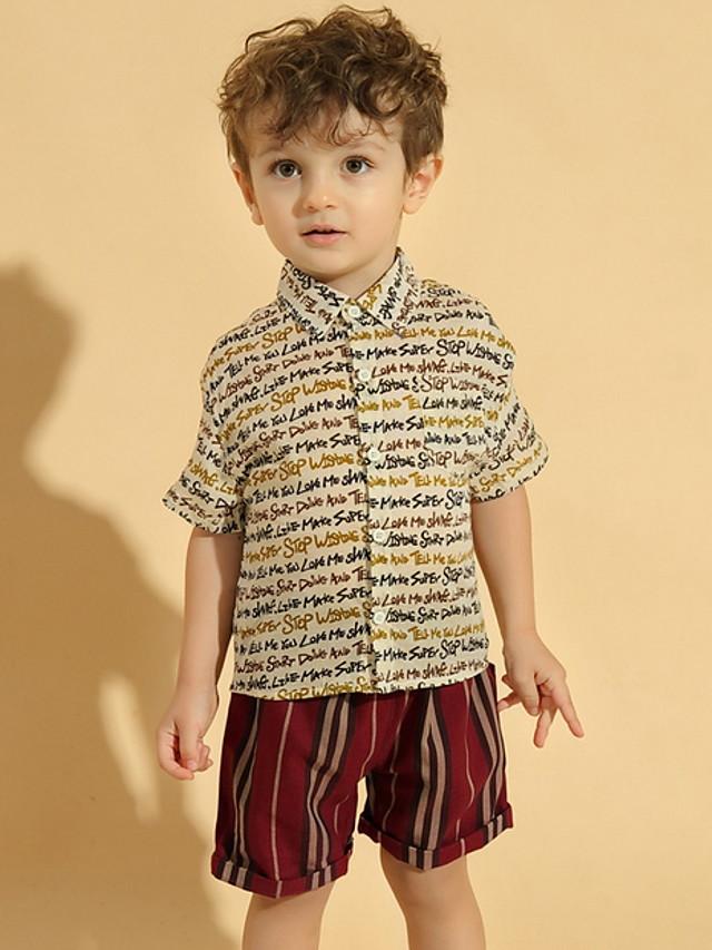 Kids Toddler Boys' Basic Print Short Sleeve Clothing Set Blue
