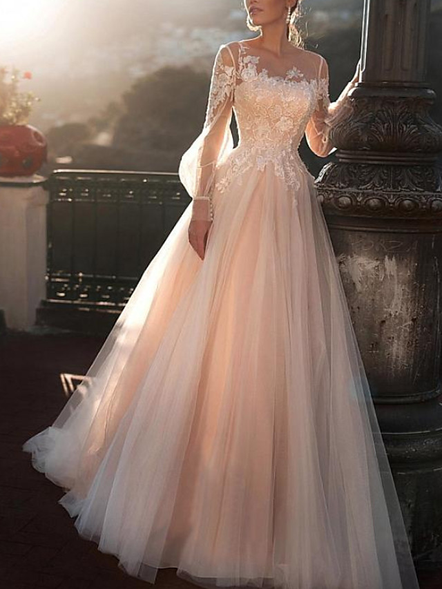 A-Line Wedding Dresses Jewel Neck Sweep / Brush Train Lace Tulle Long Sleeve Sexy Wedding Dress in Color See-Through with Embroidery Appliques 2020