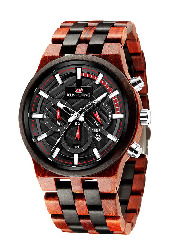 Men's Sport Watch Quartz Modern Style Stylish Cool Water Resistant / Waterproof Wood Analog - Black Red Brown / Calendar / date / day / Noctilucent