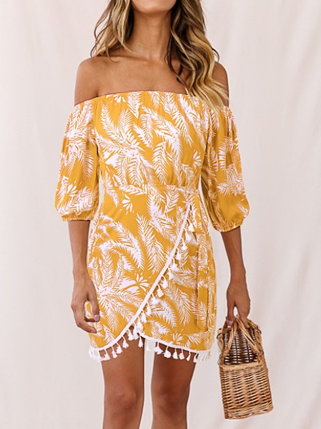 Women's Shift Dress Short Mini Dress - 3/4 Length Sleeve Floral Summer Off Shoulder Casual 2020 Red Yellow Navy Blue S M L XL