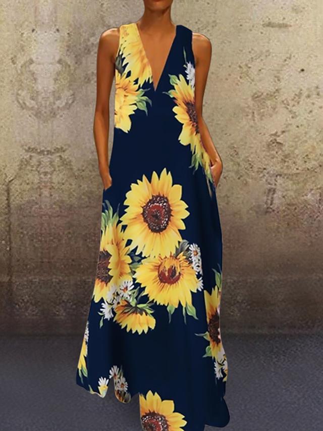 Women's Shift Dress Maxi long Dress Wine Green White Black Navy Blue Sleeveless Floral / Botanical Floral Spring Summer V Neck Casual Vintage 2021 S M L XL XXL 3XL 4XL 5XL