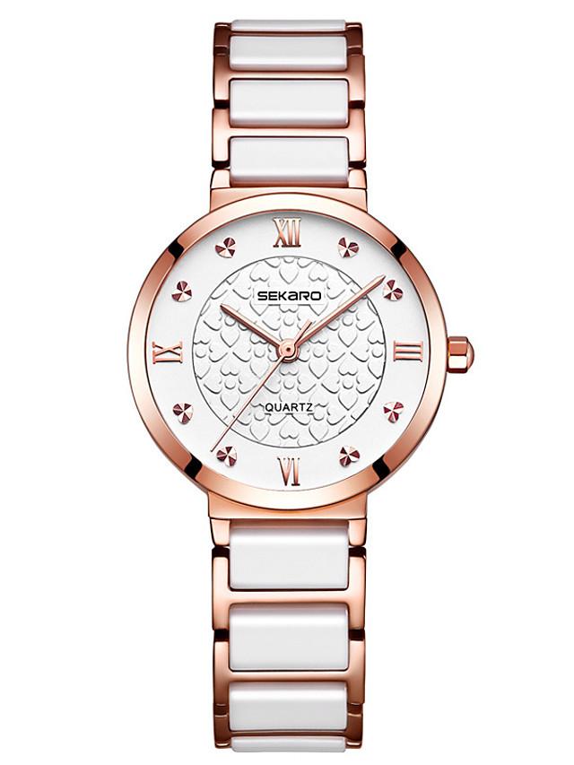 Women's Quartz Watches Quartz Modern Style Stylish Luxury Water Resistant / Waterproof Ceramic Analog - Rose Gold White+Gold White