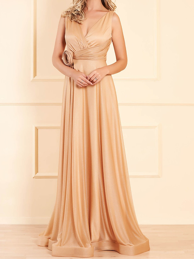 A-Line Elegant Glittering Engagement Prom Dress V Neck Sleeveless Floor Length Stretch Satin with Pleats Sequin 2020
