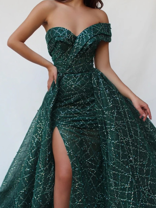 Ball Gown Luxurious Sexy Engagement Formal Evening Dress Sweetheart Neckline Sleeveless Sweep / Brush Train Tulle with Sequin Split 2020