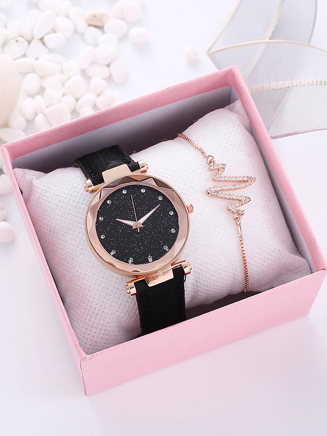 Women's Quartz Watches Quartz Vintage Style New Arrival Chronograph PU Leather Black / Brown / Grey Analog - Black Brown Gray / Imitation Diamond