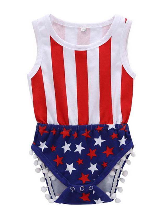 Baby Girls' Basic Flag Sleeveless Romper White