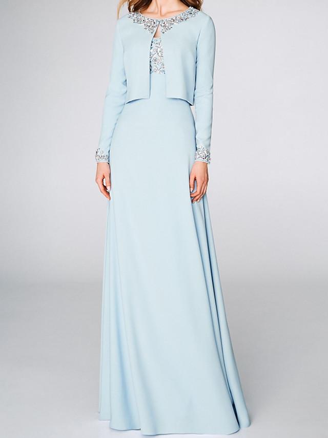 A-Line Elegant Beautiful Back Engagement Formal Evening Dress Spaghetti Strap 3/4 Length Sleeve Floor Length Satin with Beading 2020