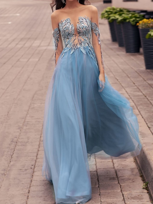 Sheath / Column Elegant Beautiful Back Engagement Formal Evening Dress Illusion Neck Long Sleeve Floor Length Lace Tulle with Appliques 2020 / Illusion Sleeve