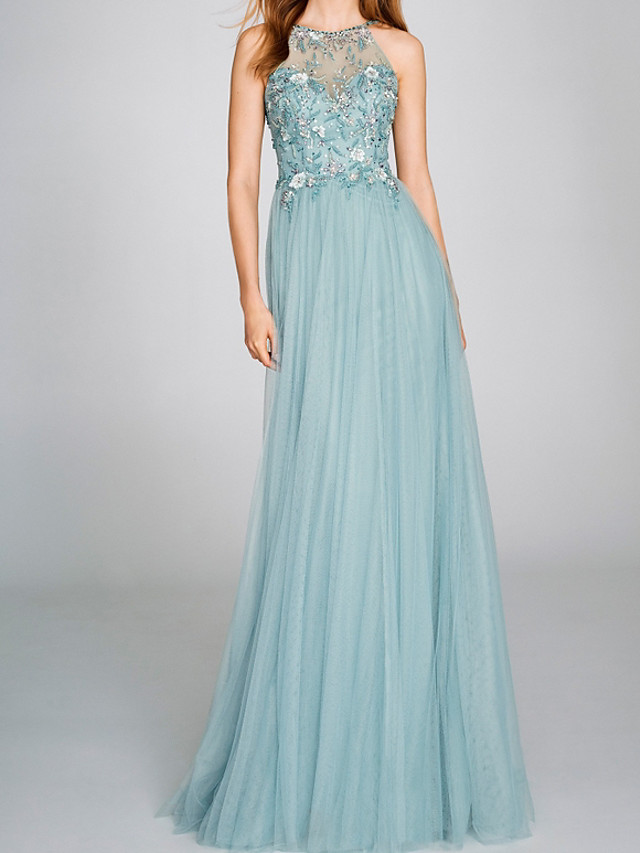 A-Line Beautiful Back Floral Engagement Formal Evening Dress Halter Neck Sleeveless Floor Length Tulle with Pleats Beading 2020