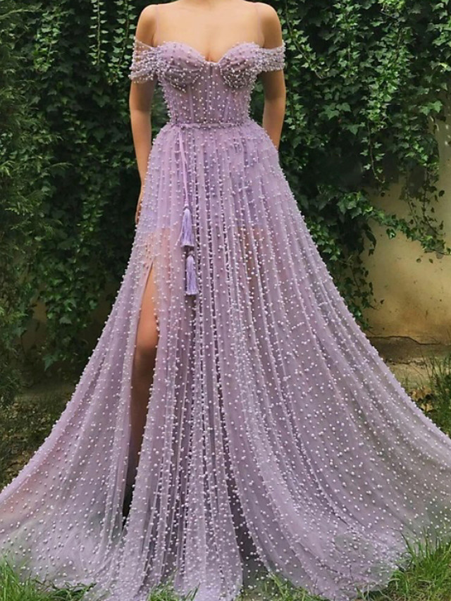 A-Line Cut Out Sexy Wedding Guest Formal Evening Dress Spaghetti Strap Sleeveless Sweep / Brush Train Tulle with Pleats Split 2020