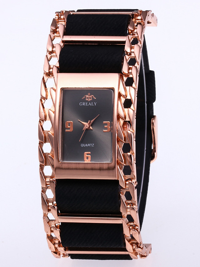 Women's Quartz Watches Quartz Stylish Fashion Casual Watch PU Leather Black Analog - Rose Gold Golden+Red Red One Year Battery Life