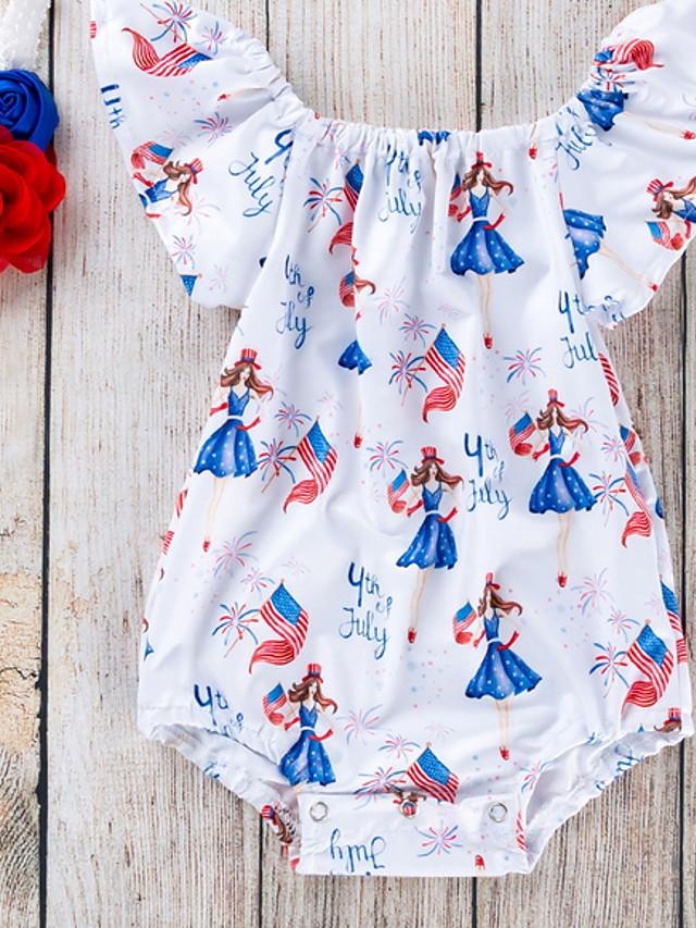 Baby Girls' Basic Geometric Short Sleeves Romper Blue