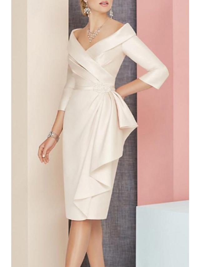 Sheath / Column Mother of the Bride Dress Elegant Vintage Plus Size V Neck Knee Length Satin 3/4 Length Sleeve with Sash / Ribbon Ruching 2020 Mother of the groom dresses