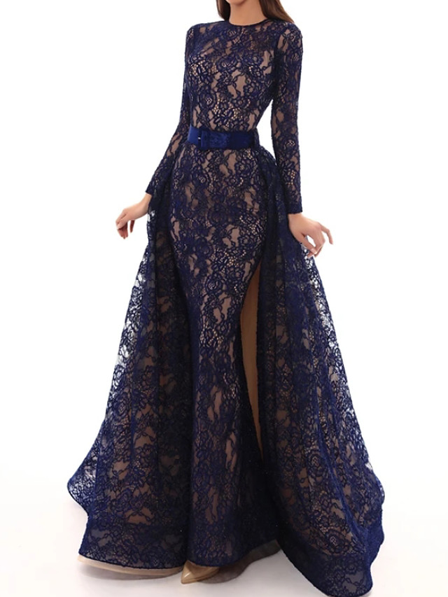 A-Line Elegant Floral Engagement Formal Evening Dress Jewel Neck Long Sleeve Sweep / Brush Train Lace with Sash / Ribbon Split Embroidery 2020