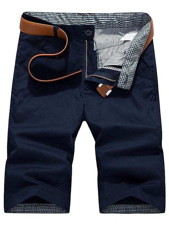 Men's Basic Daily Slim Cotton Chinos Shorts Pants Solid Colored Breathable Summer Black Wine Army Green US34 / UK34 / EU42 US36 / UK36 / EU44 US38 / UK38 / EU46