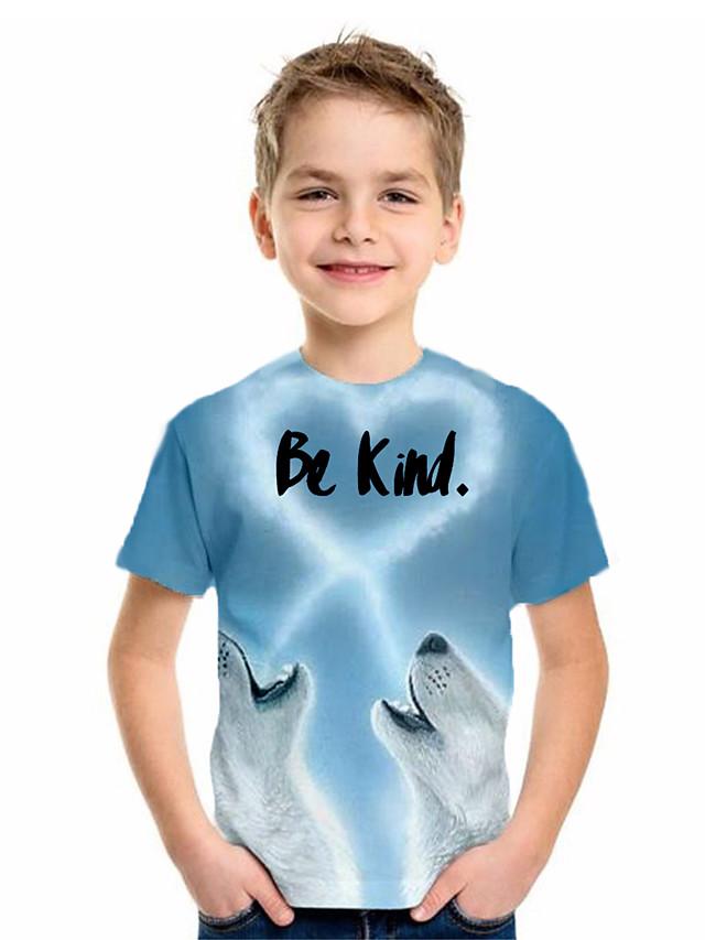 Kids Boys' Basic Animal Print Short Sleeve Tee Blue