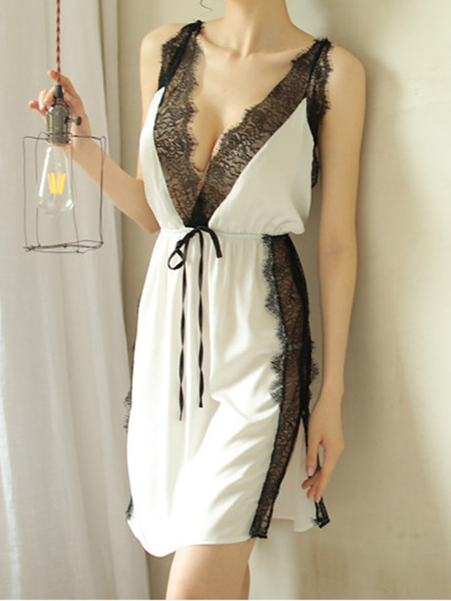Women's Lace Backless Cut Out Suits Nightwear Jacquard Solid Colored White / Black / Red One-Size