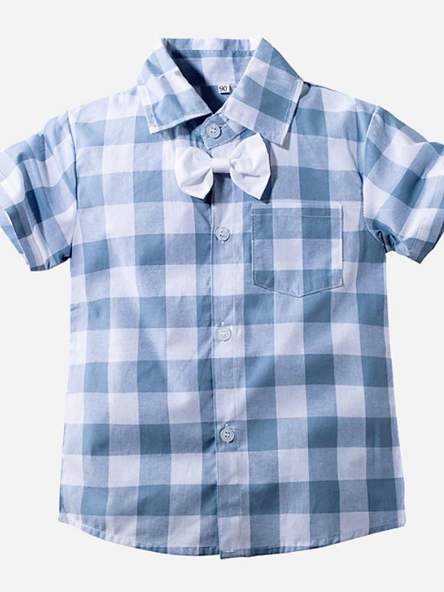 Toddler Boys' Street chic Plaid Short Sleeve Shirt Light Blue
