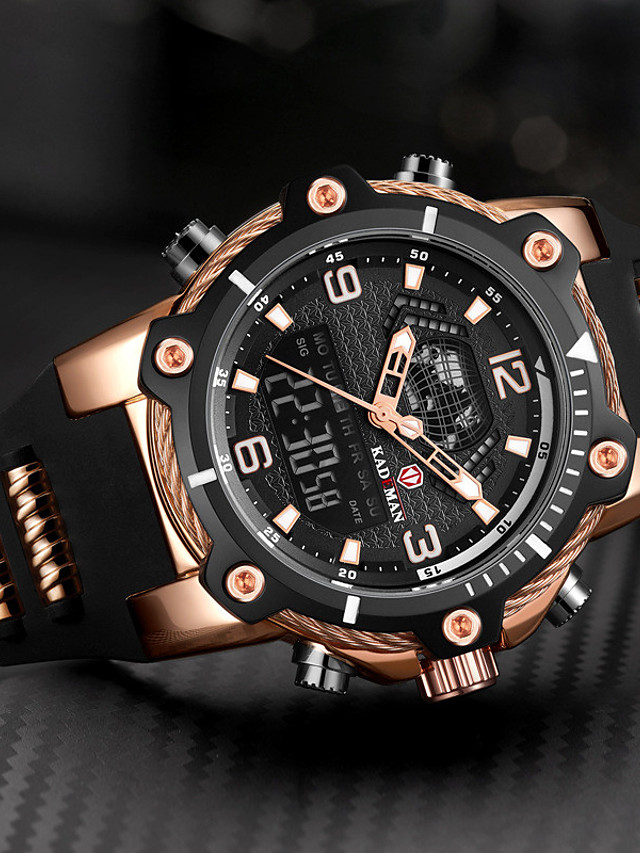 KADEMAN Men's Sport Watch Quartz Modern Style Stylish Outdoor Water Resistant / Waterproof Rubber Analog Analog - Digital - Black / Silver Black+Gloden Black / Calendar / date / day / Noctilucent
