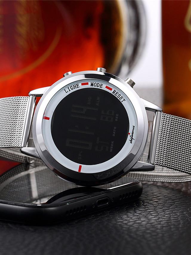Men's Digital Watch Digital Fashion Water Resistant / Waterproof Analog Black Silver / One Year / Stainless Steel