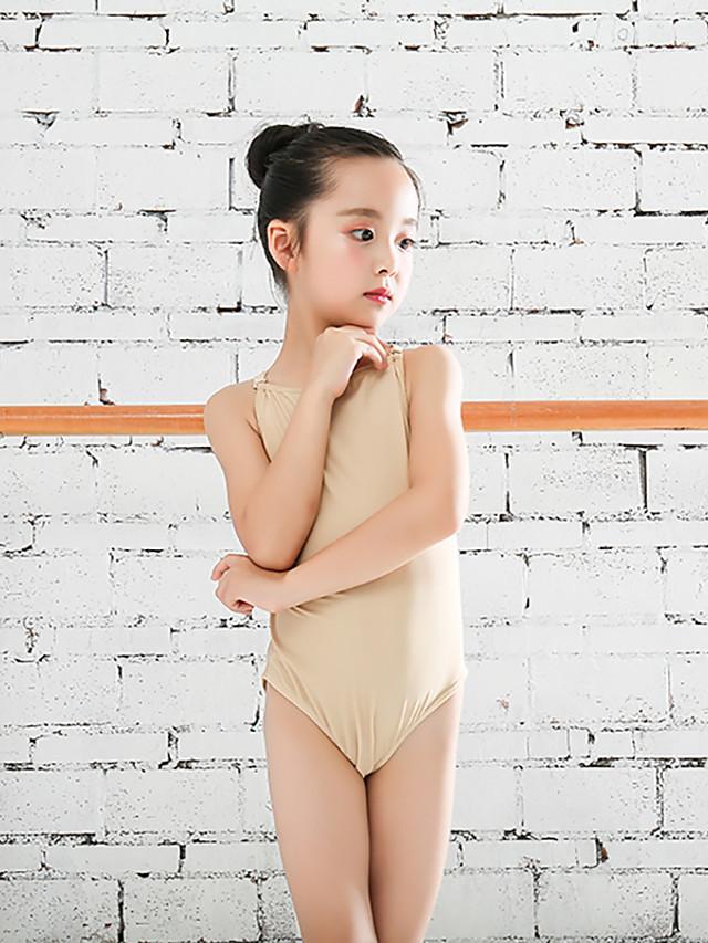 Rhythmic Gymnastics Leotards Gymnastics Leotards Girls' Kids Dancewear Stretchy Breathable Sleeveless Training Dance Rhythmic Gymnastics Gymnastics Chocolate