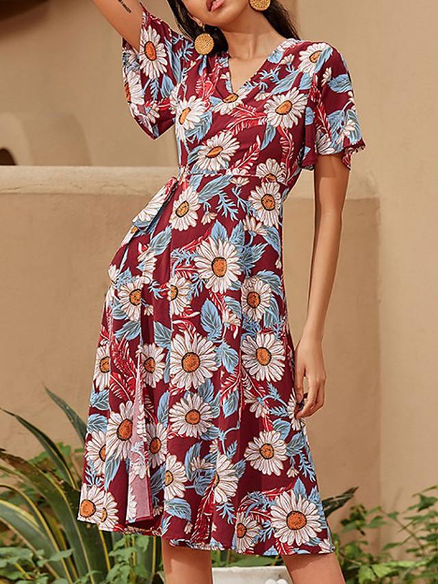 Damen A-Linie Kleid Knielanges Kleid - Kurze Ärmel Blumen Sommer Büro 2020 Rote S M L XL