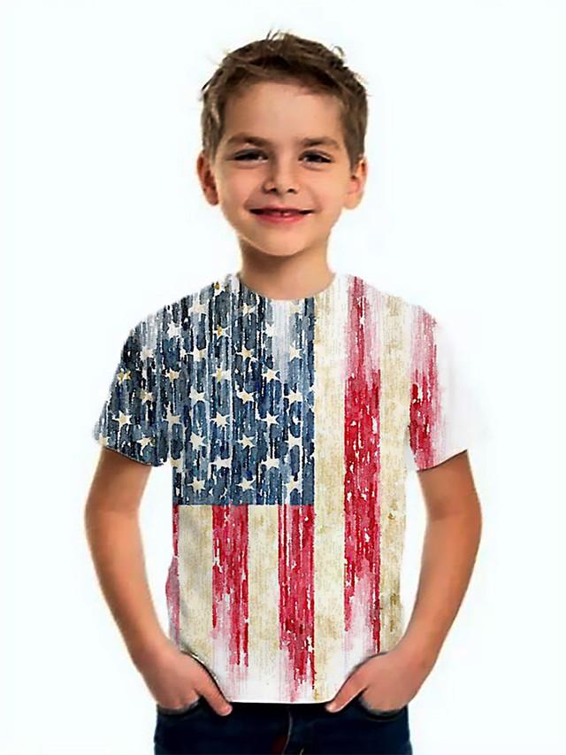 Kids Boys' Basic Flag Short Sleeve Tee White