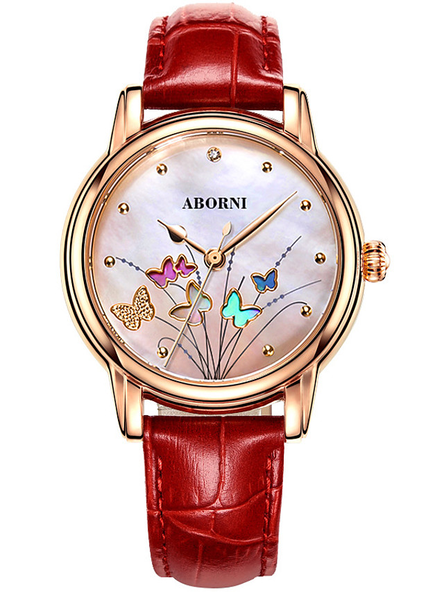 Women's Quartz Watches Quartz Modern Style Stylish Casual Water Resistant / Waterproof Genuine Leather Analog - White Red Blushing Pink