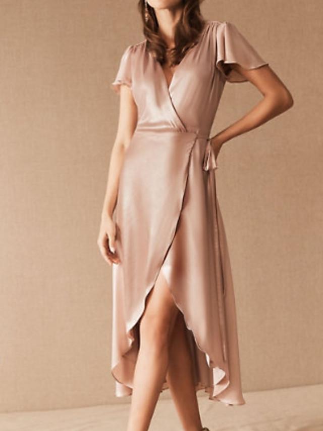 Sheath / Column Elegant Minimalist Wedding Guest Cocktail Party Dress V Neck Short Sleeve Asymmetrical Satin with Sleek Ruffles 2020