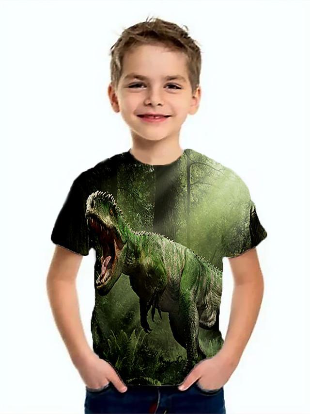 Kids Boys' Basic Dinosaur Animal Print Short Sleeve Tee Green