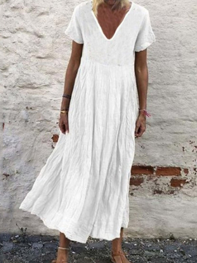 Women's Plus Size A-Line Dress Midi Dress - Short Sleeves Summer V Neck Casual 2020 White Black Yellow Orange Green S M L XL XXL XXXL XXXXL XXXXXL