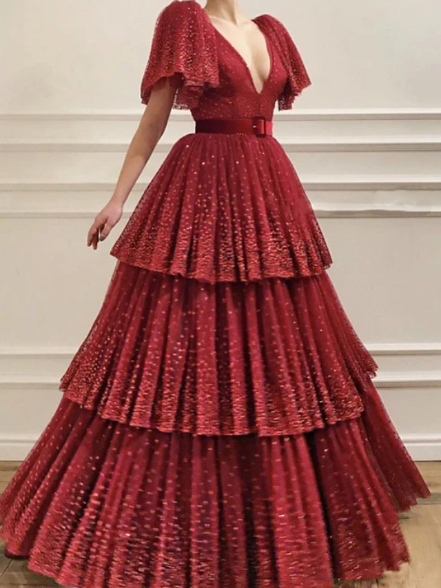 Ball Gown Glittering Luxurious Engagement Formal Evening Dress V Neck Short Sleeve Floor Length Tulle with Pleats Tier 2020
