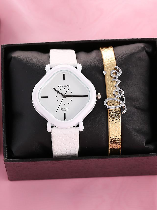 Women's Quartz Watches Quartz Novelty Stylish Antique Chronograph PU Leather White Analog - White / Imitation Diamond
