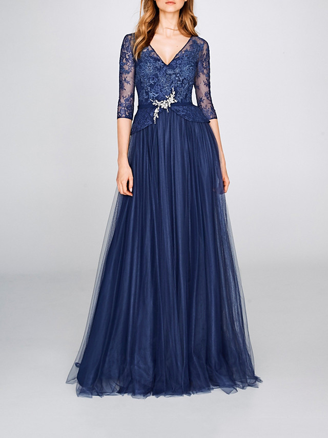A-Line Elegant Floral Engagement Formal Evening Dress V Neck Half Sleeve Floor Length Tulle with Pleats Beading Embroidery 2020