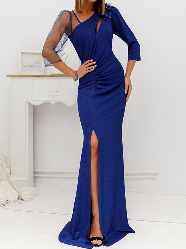 Sheath / Column Cut Out Sexy Engagement Formal Evening Dress V Neck 3/4 Length Sleeve Sweep / Brush Train Jersey with Ruched Split Appliques 2020