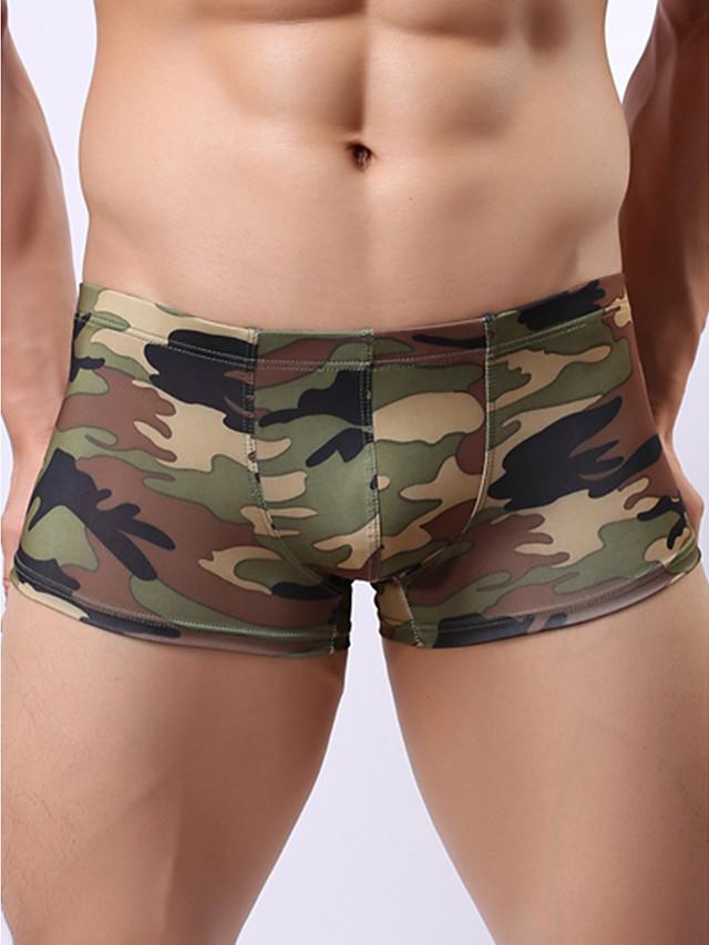 Men's Print Boxers Underwear - Normal Low Waist Army Green M L XL