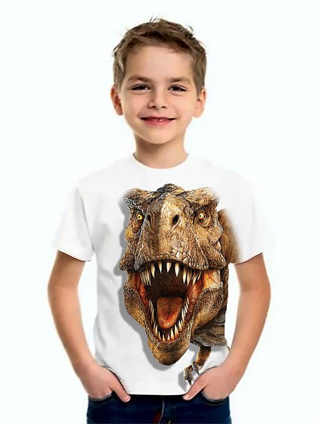 Kids Boys' Basic Dinosaur Animal Print Short Sleeve Tee White