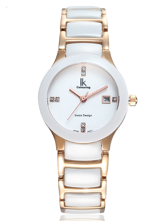 Women's Quartz Watches Quartz Stylish Elegant Water Resistant / Waterproof Ceramic White Analog - White+Gold White / Calendar / date / day