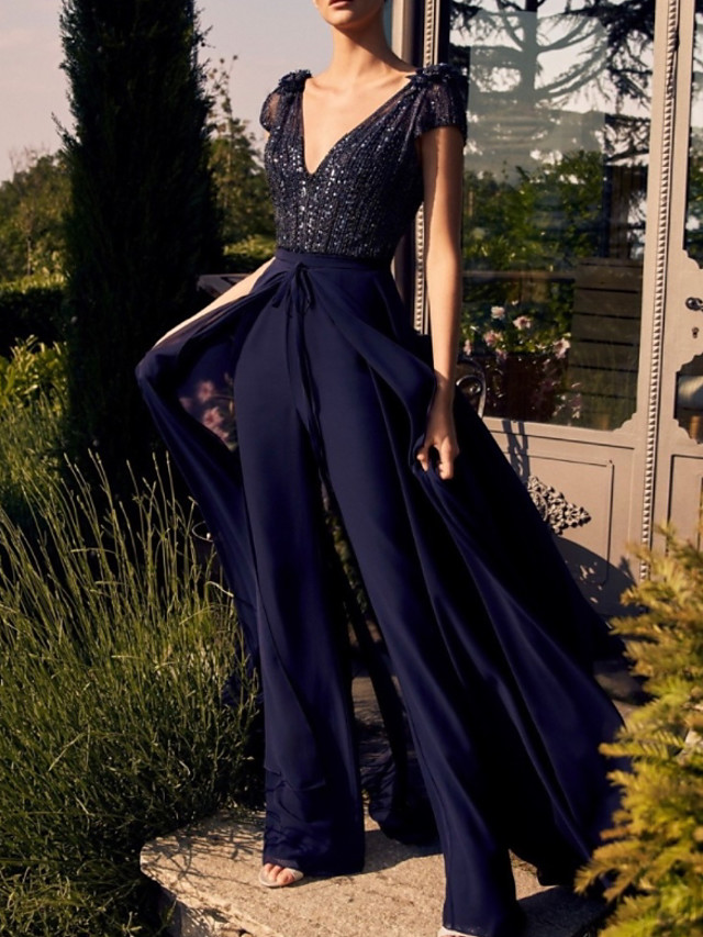 Jumpsuits Elegant Glittering Engagement Prom Dress V Neck Short Sleeve Floor Length Chiffon with Sequin Overskirt 2020