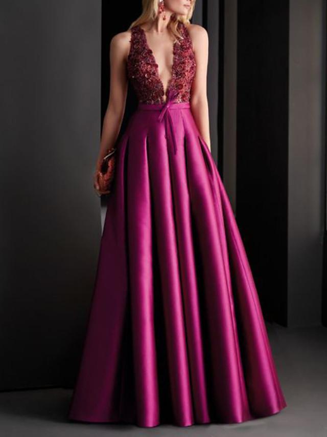 A-Line Elegant Floral Engagement Formal Evening Dress V Neck Sleeveless Floor Length Satin with Pleats Appliques 2020