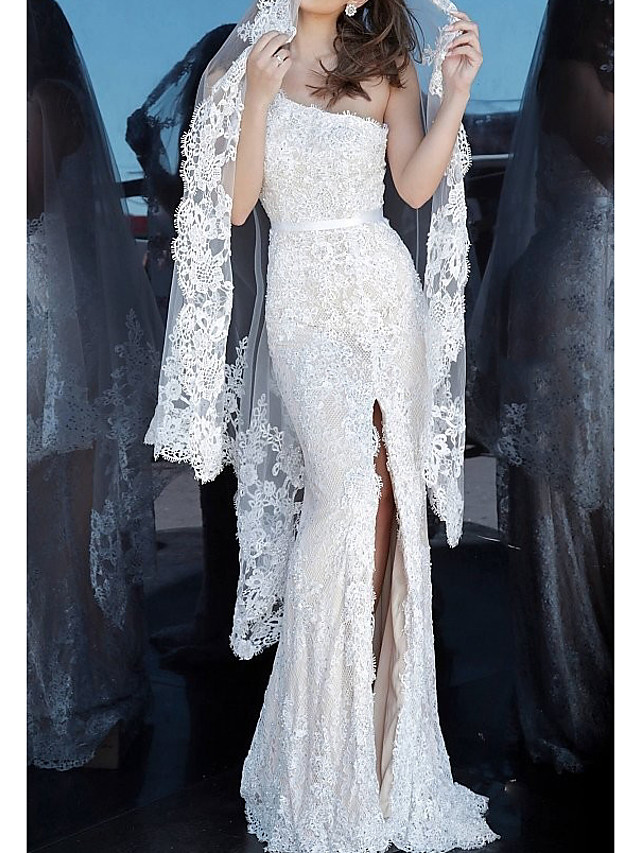 Mermaid / Trumpet Luxurious Sexy Engagement Formal Evening Dress One Shoulder Sleeveless Floor Length Lace with Split 2020