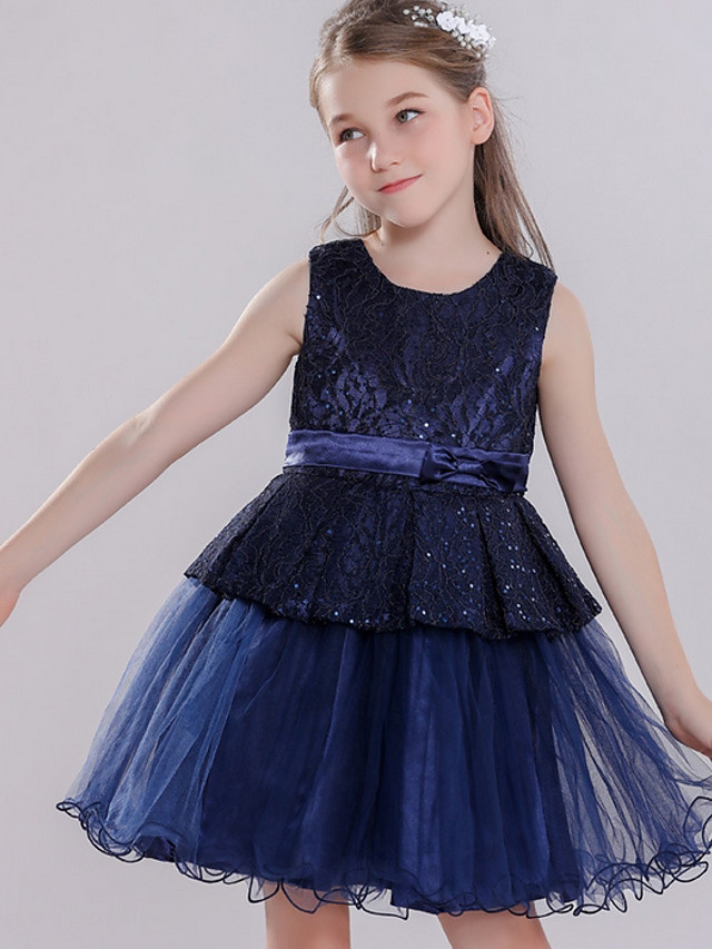 Ball Gown Round Knee Length Lace / Tulle Junior Bridesmaid Dress with Bow(s) / Tier