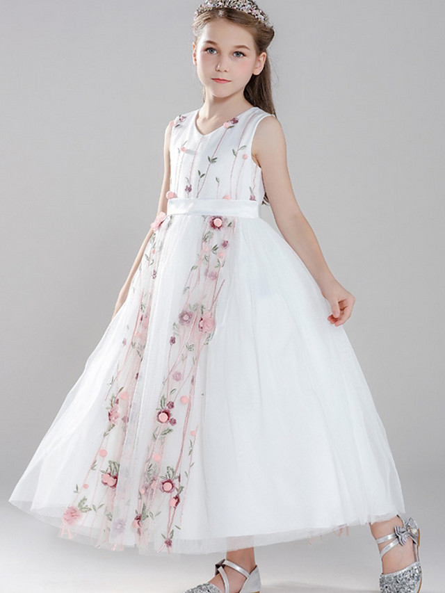Ball Gown V Neck Floor Length Tulle Junior Bridesmaid Dress with Embroidery / Appliques