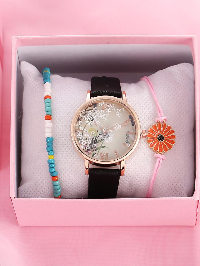 Women's Quartz Watches Quartz Novelty Stylish New Arrival Chronograph PU Leather Black / White / Brown Analog - White Black Blushing Pink